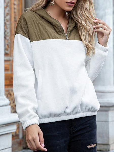 Zipper Pullover V Neck Solid Sweatshirt