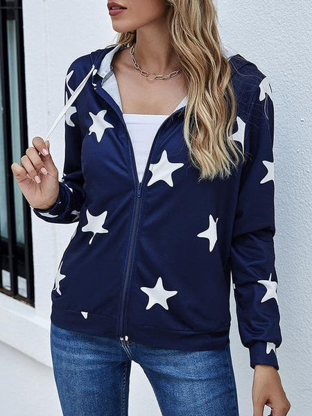 Zipper Up Stars Print Coat Hoodie