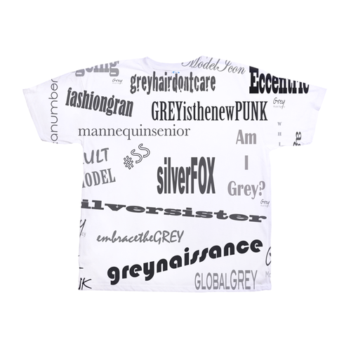 Grey Hashtag All-Over Print T-Shirt
