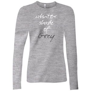 Whiter Shade Of Grey Long Sleeve T-Shirt White w/Back Design