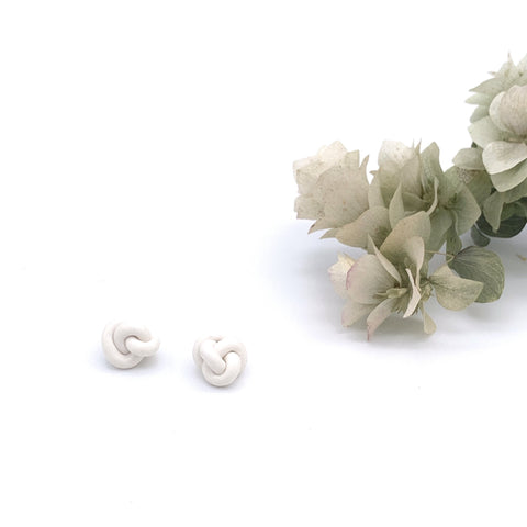 Julian White Knotted Studs
