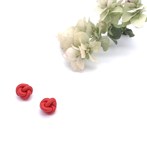 Julian Red Knotted Studs