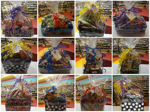 a grid of 12 different gift baskets
