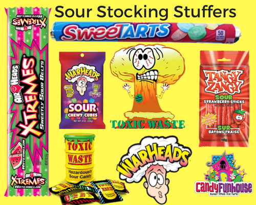 Sour Candy Christmas Stocking Stuffers-CandyFunhouse.ca-Santa's Online Candy Store