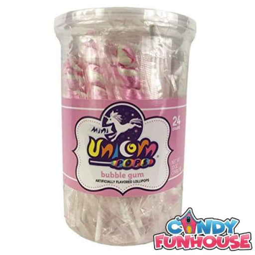 Unicorn Pops Mini-Light Pink & White Bubble Gum Lollipops Adams & Brooks Inc - 1990s candy Colour_Pink Era_1990s Individually Wrapped