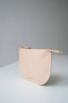 front view of the dawn pouch in beige leather