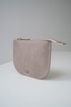 front view of the dawn pouch in taupe leather