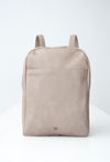 front view of the dusk backpack in taupe leather