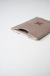 front view of the dusk wallet in taupe leather