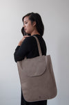 front view of the dawn oversized tote in taupe leather