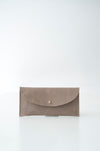 front view of the glare wallet in taupe leather