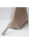 front view of the halo clutch in taupe leather
