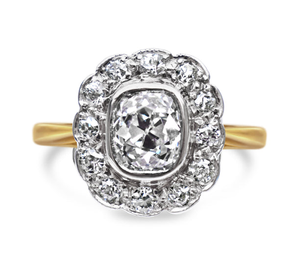 1920s 1.25ct Diamond Cluster Ring