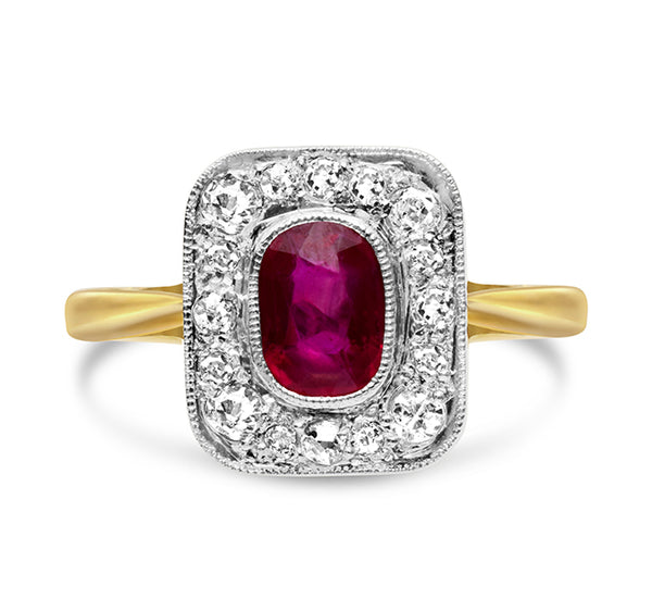 1920s Burmese Ruby and Diamond Ring