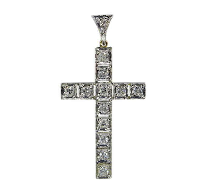 1920s Diamond Cross Pendant
