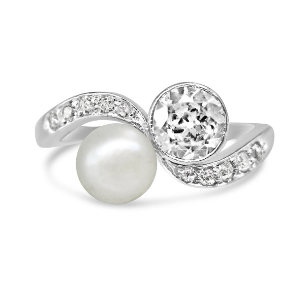 1920s Platinum Pearl and Diamond Ring