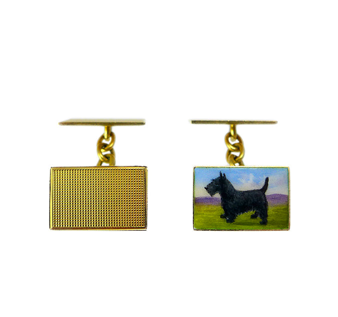 1930s 18ct & Enamel Scottish Terrier Cufflinks