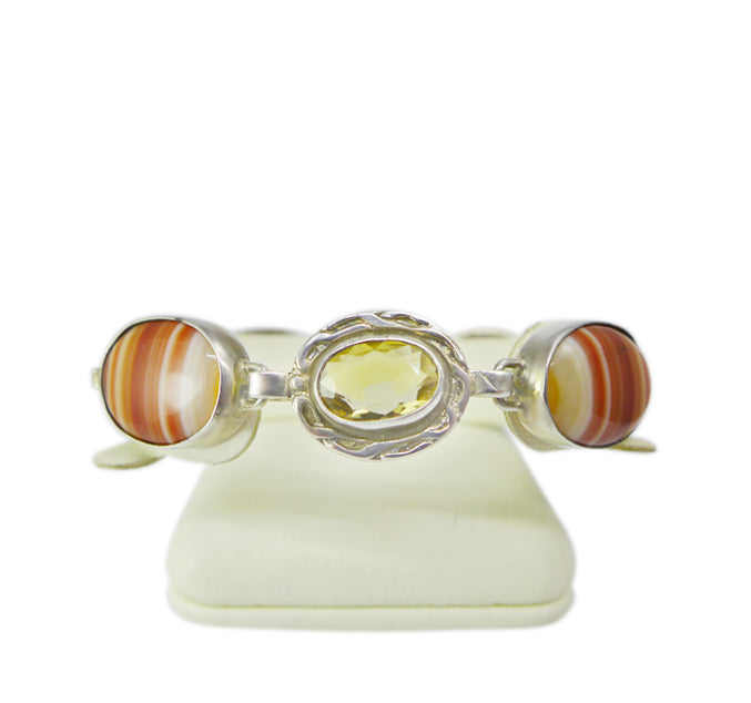 1930s sterling silver, citrine and Scottish agate bracelet