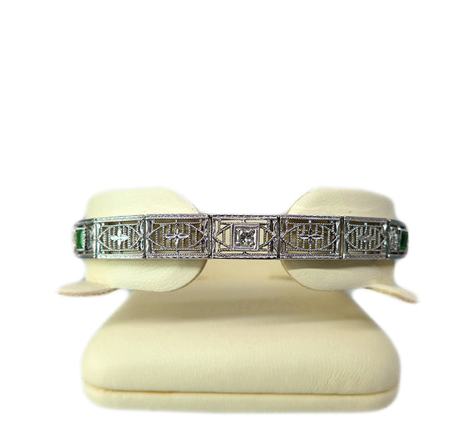 1940s Emerald & Diamond Bracelet
