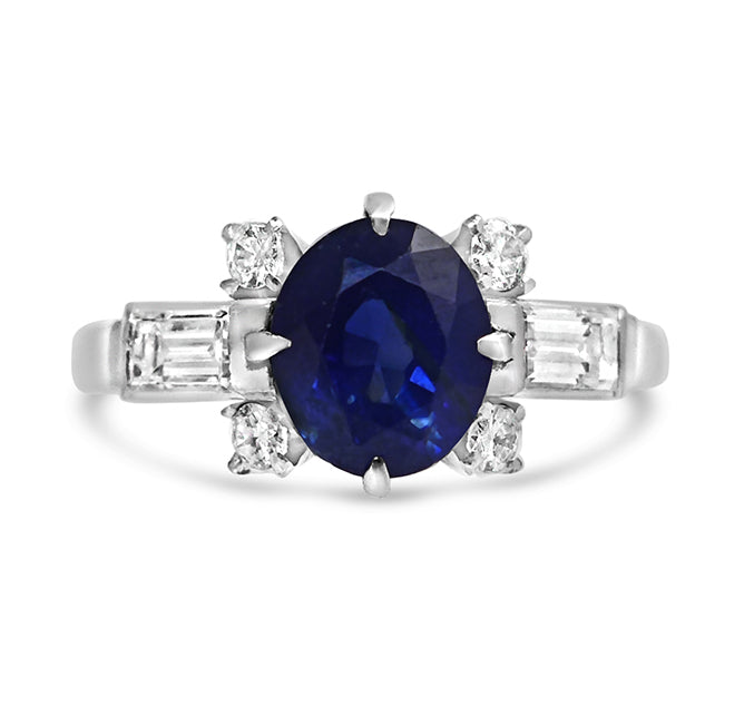 1950 sapphire and diamond ring
