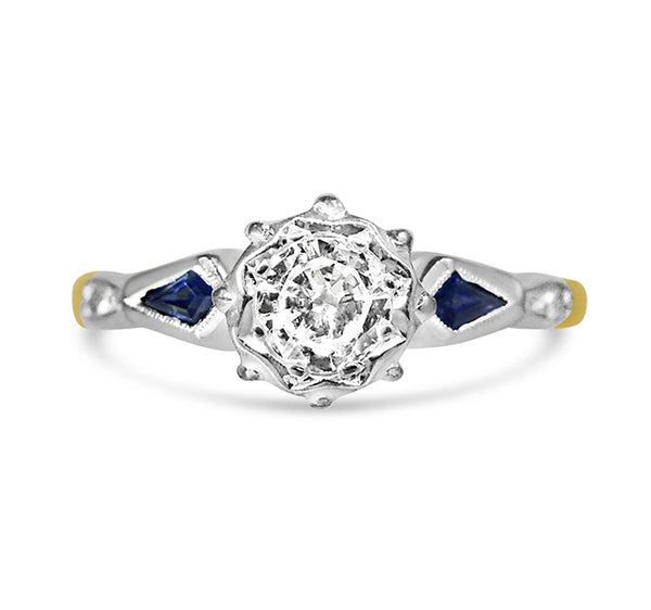 1950s diamond and sapphire engagement ring