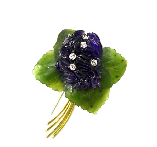 1960s Austrian Carved Floral Brooch