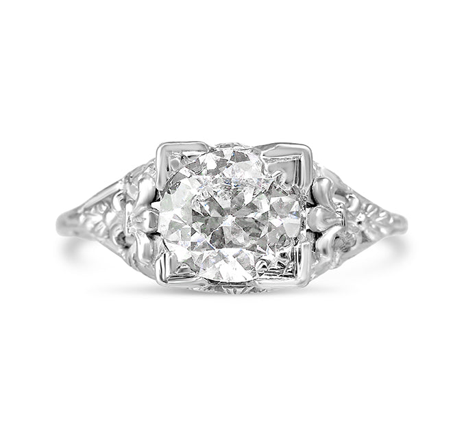 Art Deco Solitaire 1.14ct Diamond Ring