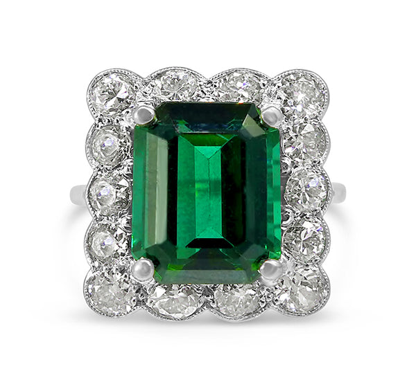 1930s green tourmaline cluster ring