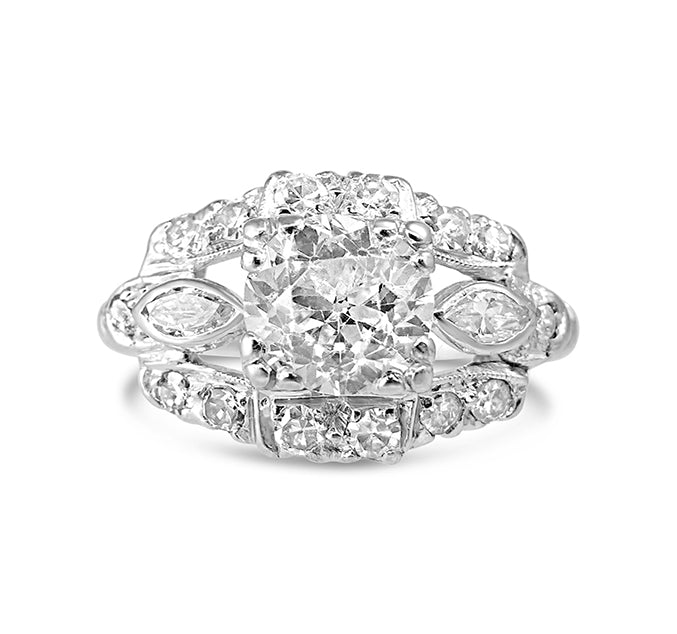 Art Deco Platinum 1.35ct Diamond Ring