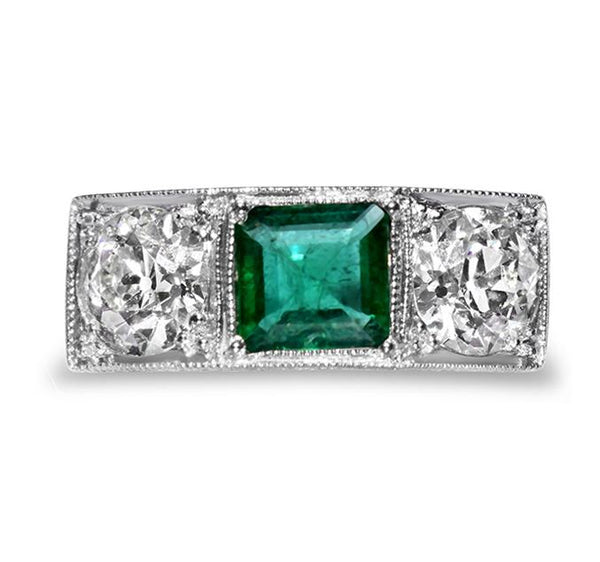 Art Deco three stone platinum emerald ring