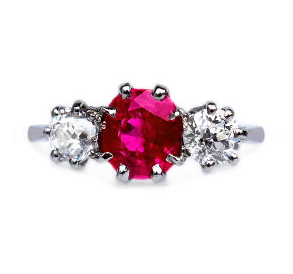 1920s Ruby Three Stone Ring
