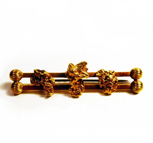 Edwardian Australian gold nugget bar brooch