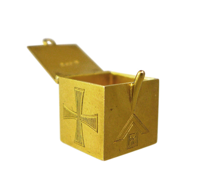 Edwardian 15ct Gold Masonic Box Charm