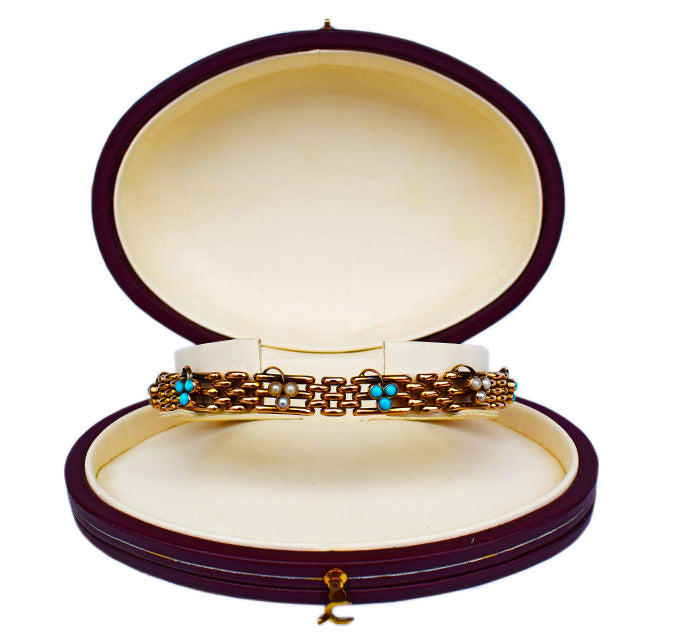Edwardian Turquoise and Pearl Three Leaf Clover Bracelet