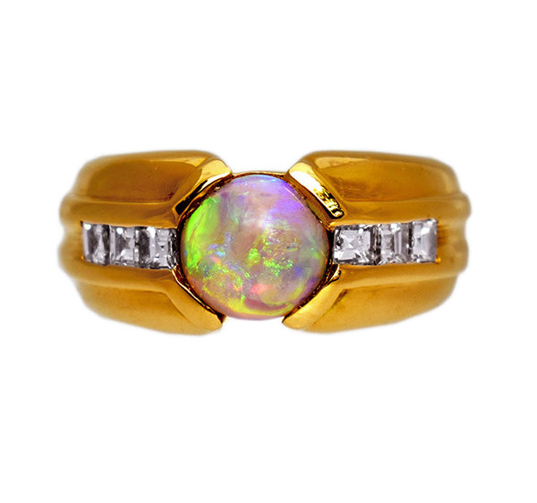 French gold opal ring