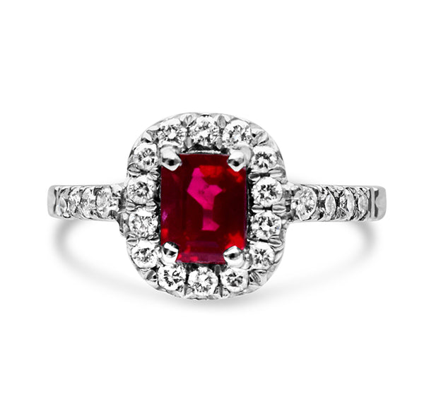 1.05ct Bright Red Burmese Ruby Ring