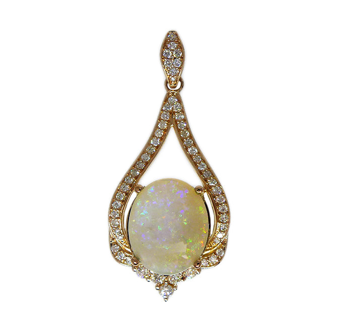 Solid Opal & Diamond 18ct Drop Pendant