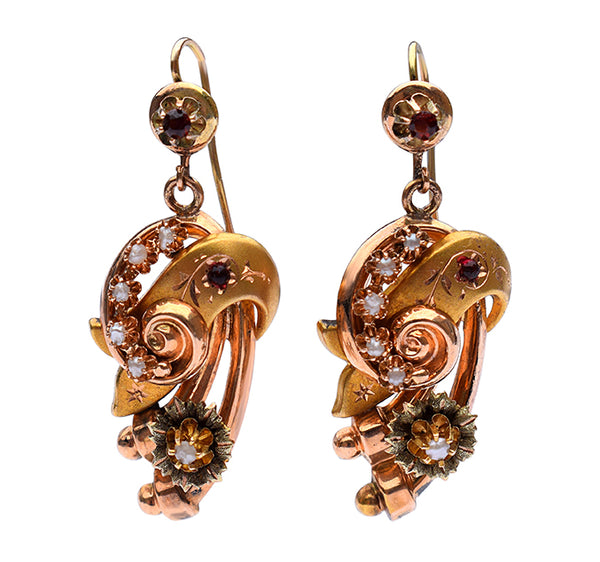 Victorian 15ct pearl and garnet earrings