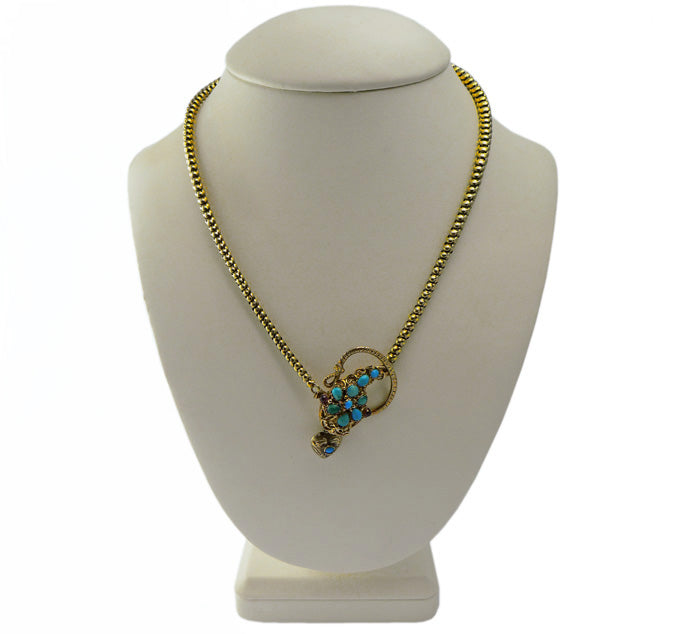 Victorian 15ct Gold Turquoise Serpent Necklace