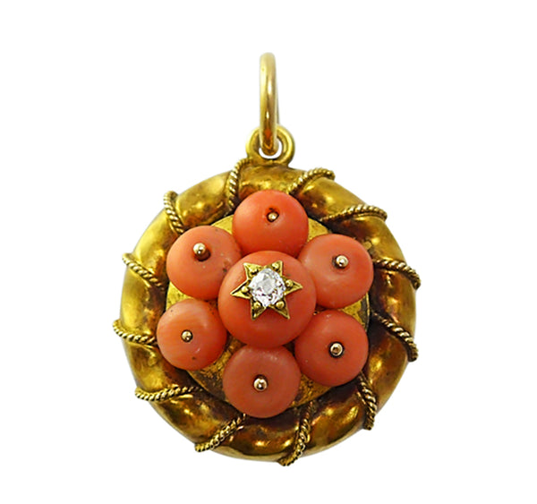 Victorian Coral & Diamond Locket
