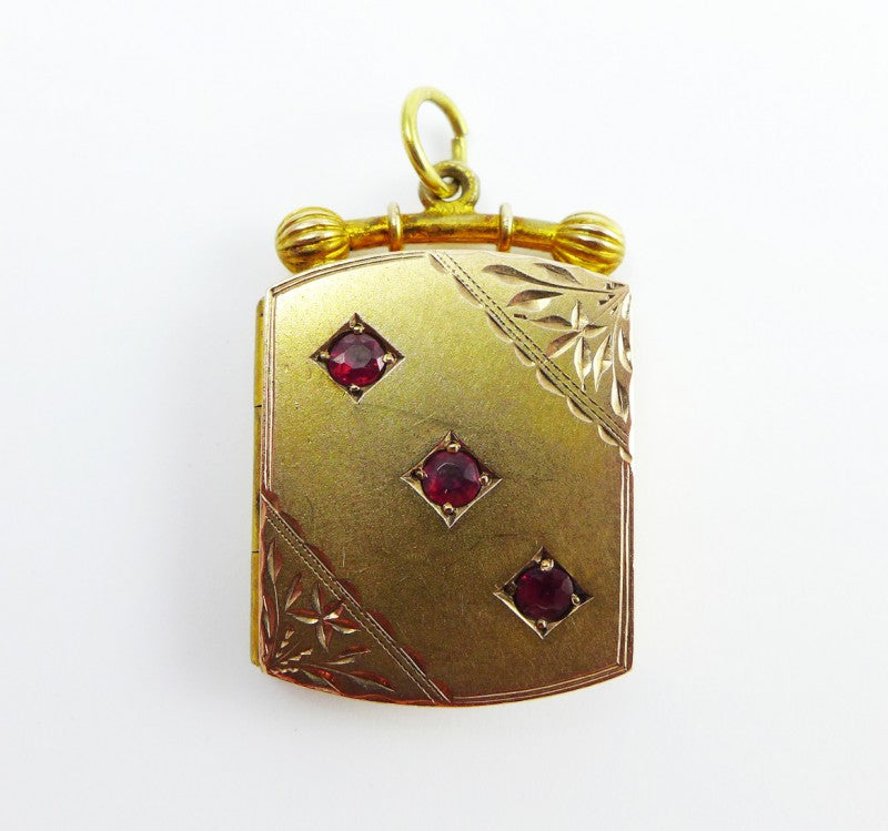 Victorian Rose Gold Garnet Locket