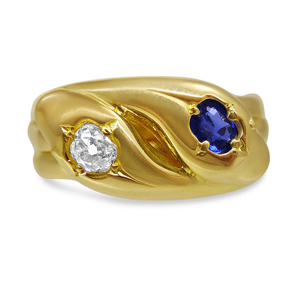 Victorian Sapphire and Diamond Double Snake Ring