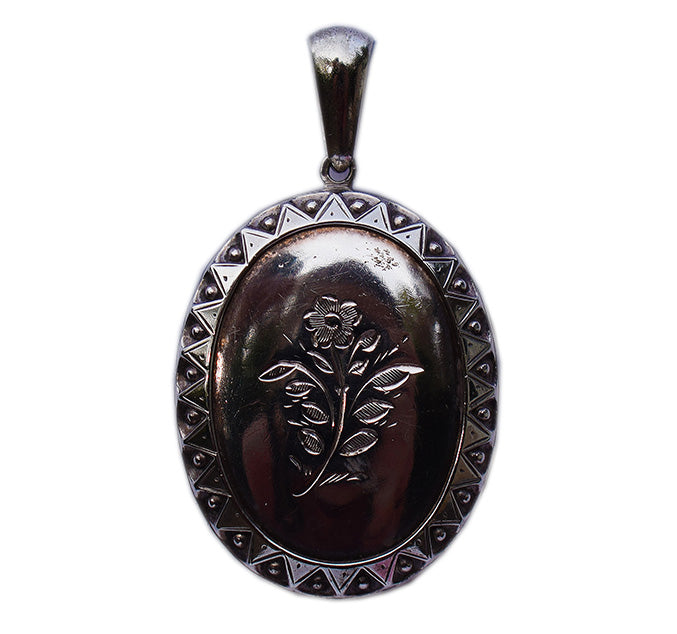 Victorian Silver Forget-Me-Not Flower Locket