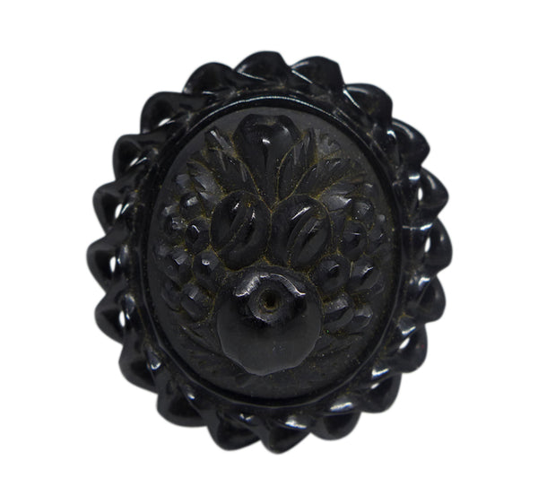 Victorian Whitby Jet Floral Brooch