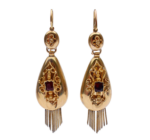 Victorian garnet fringe earrings