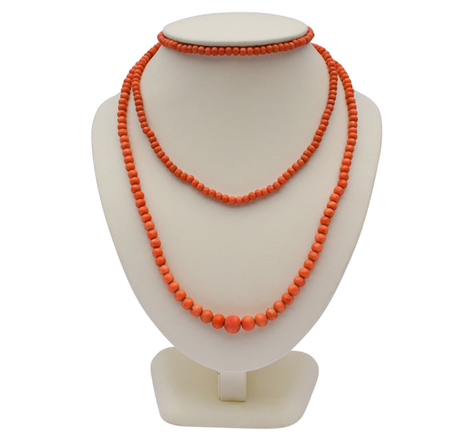 Victorian graduating coral bead necklace