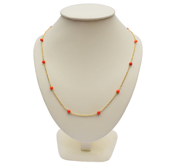 Vintage Coral Chain Necklace