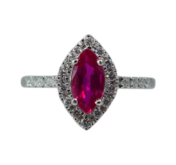Marquise Cut Ruby and Diamond Ring