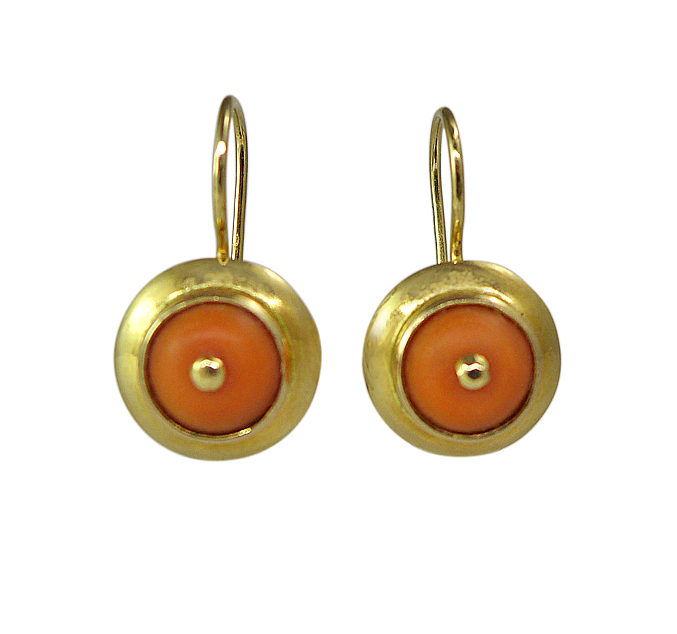 1950s Yellow Gold Coral Earrings