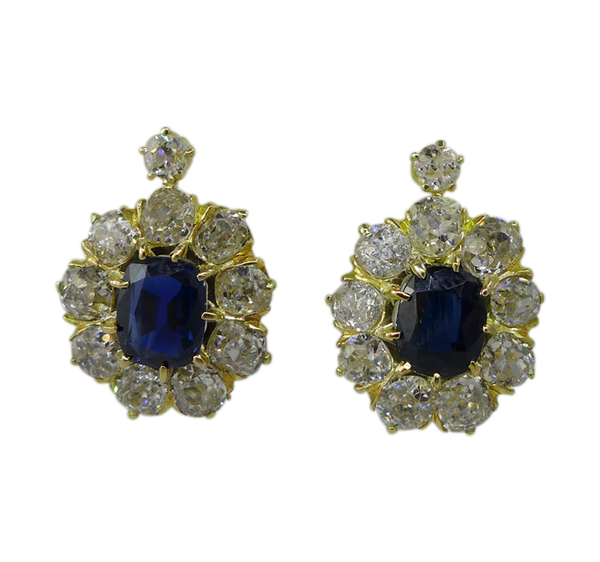 Victorian Sapphire and Diamond Earrings